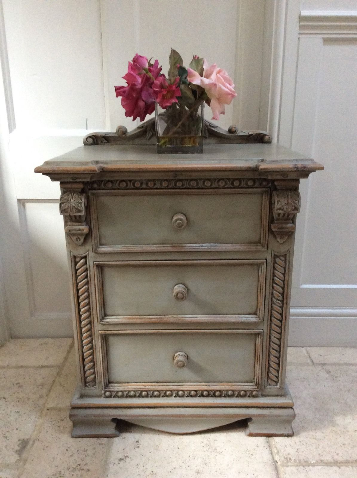 Mirror And Painted Bedside Table: French Rococo Style Ornate Grey Painted Pine Chest Of